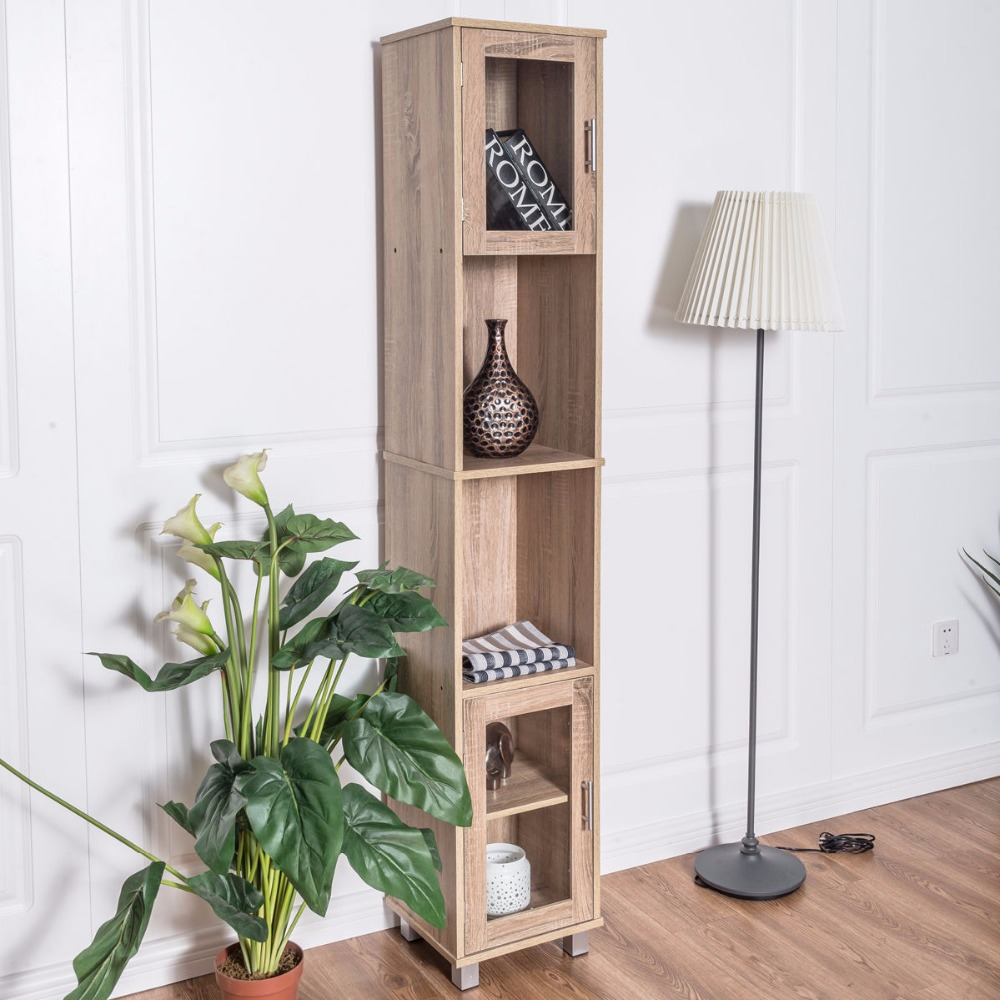 "Фотография Giantex 71"" Tall Wooden Living Room Cabinet Modern Storage Wood Tower Bedroom Shelf Organizer Bathroom Glass Door Cabinet BA7224"