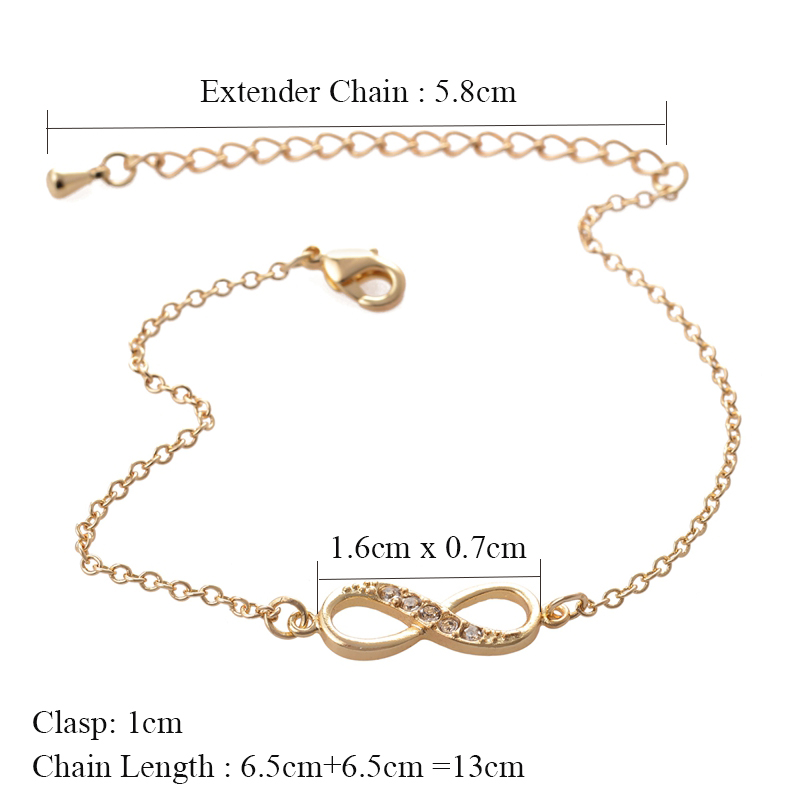 Shuangshuo 2017 New Fashion Infinity Bracelet for Women with Crystal Stones Bracelet Infinity Number 8 Chain Bracelets bileklik 2