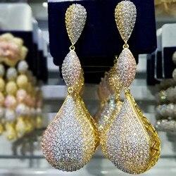 GODKI роскошные длинные висячие серьги с шариками в виде капель для женщин, свадебные серьги с микро фианитами, кубическим цирконием, Дубай, ин...