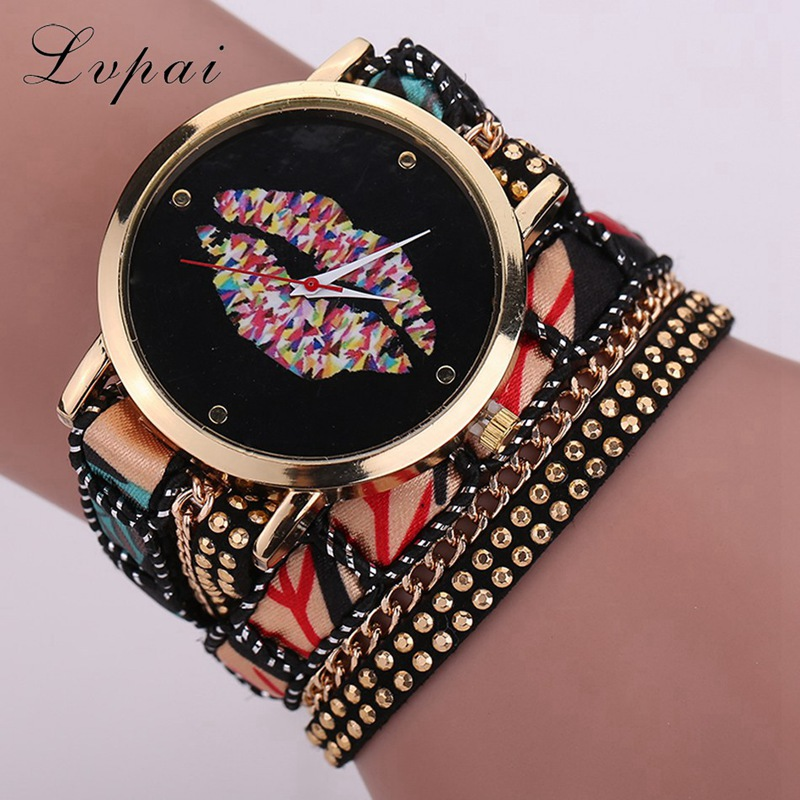 Women Fashion Luxury Watch Ladies Handmade Braided Vintage Style Kiss Female Wristwatch Women Bracelet Dress Quartz Watch LS063