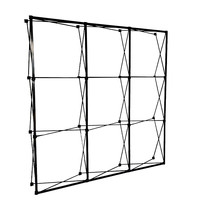 Metal Iron 230x230cm 3x3 Pop Up Banner Display Stands Foldable In Spray Painting Black For Trade