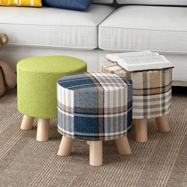 Wooden Low Cloth Sofa Round Stool Change Shoe Ottoman Cartoon Solid Wood  Detachable Cloth Sets Home