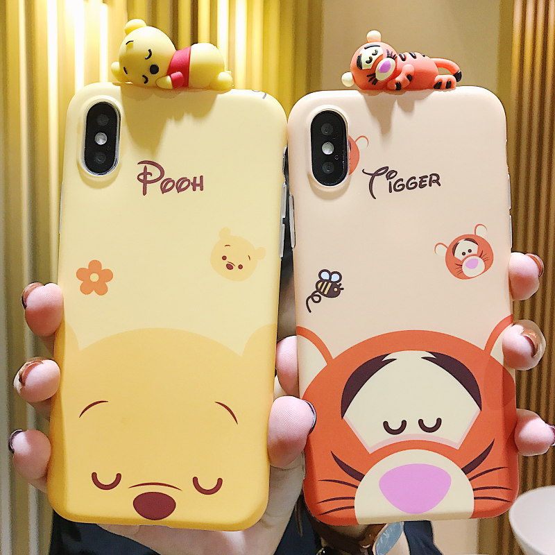 Cartoon doll Winnie Pooh Tigger Phone Case For iPhone X XS MAX XR All-inclusive anti-fall soft Cover For iPhone 7 8 6s Plus Case winnie the pooh iphone case