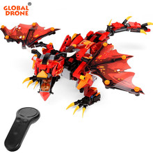 Global Drone Remote Control Dragon Robot for Kids Building Blocks Toys for Boys Christmas Present RC Dragon Robot Toy(China)