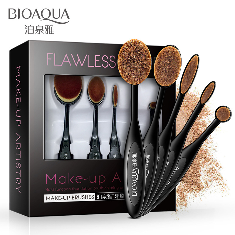 BIOAQUA Makeup Brushes Set Foundation Toothbrush Highlighter Brush Kit Eyeshadow Eyeliner Powder Make Up Brand Tool Cosmetic trendy lace up long sleeve blue hooded quilted coat for women