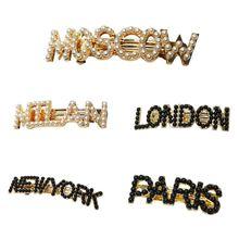 Korean Women Glitter Metallic Spring Hair Clip Imitation Pearl Famous City Letter Banana Hairpin Vintage Party Ponytail Barrette