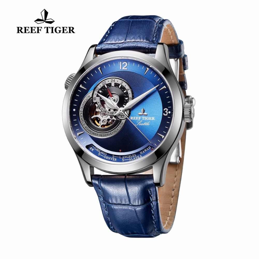שונית טייגר/RT מעצב מקרית שעונים כחול חיוג נירוסטה שעונים אוטומטי שעונים עור אמיתי רצועת RGA1693