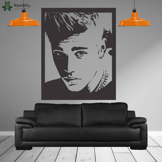 Justin bieber gadis bedroom dinding decal adesivo de parede vinyl dinding stiker poster singer jb sticker home decor mural diy sy152 di wall stickers dari