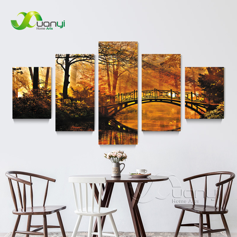 5 Panel Orange Forest Tree Pictures Home Decoration Art Modular Pictures Forest Canvas Print Painting For Living Room Unframed