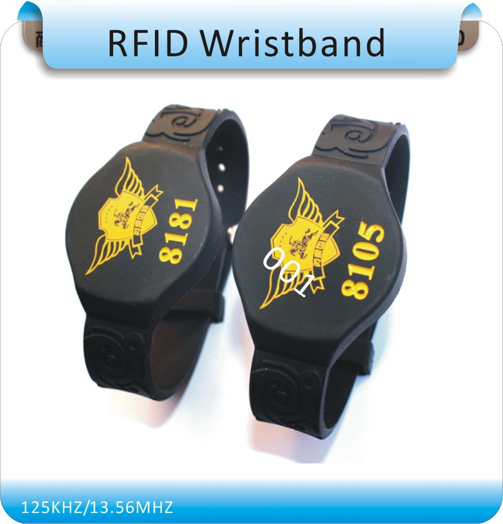 Free Shipping 100Pcs 125KHZ RFID  Waterproof  Silicone Wristband With TK4100(compatible EM4100) , RIFD Keyfobs