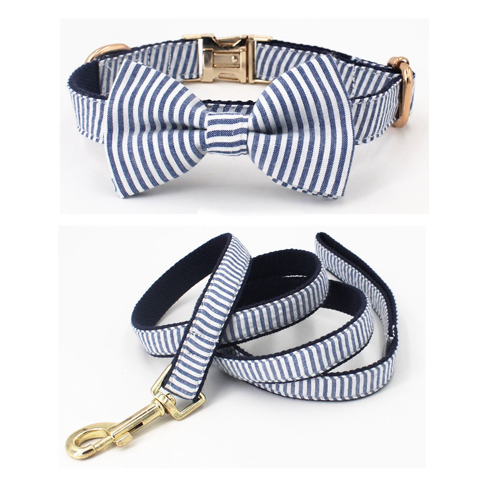 Seersucker Blue Stripe dog bowtie collar with Detachable Bowtie for Dogs for wedding party family photo