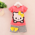 2017 Summer Hot Sale Baby Girl Clothes Casual Sleeveless Cute Cat T-shirt+shorts Suit Tracksuit Bow Suit Girls Clothes