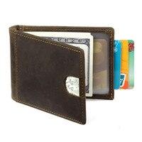 Nesitu New Vintage Dark Brown Color Genuine Leather Slim Front Pocket Men Wallets Man Purse Card