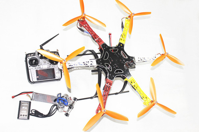 F05114-AE F550 Hexa-Rotor Air Frame FlameWheel Kit RTF Geassembleerd Volledige Kit met Landingsgestel Radiolink AT10 TX & RX Camera Gimbal