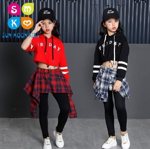 New Hip Hop Girls Clothing 2pcs Children Teenage Girls Crop Hoodies Sweatshirt And Skirt Pants Sets Korean Kids Streetwear girls gingham crop top with denim overall skirt