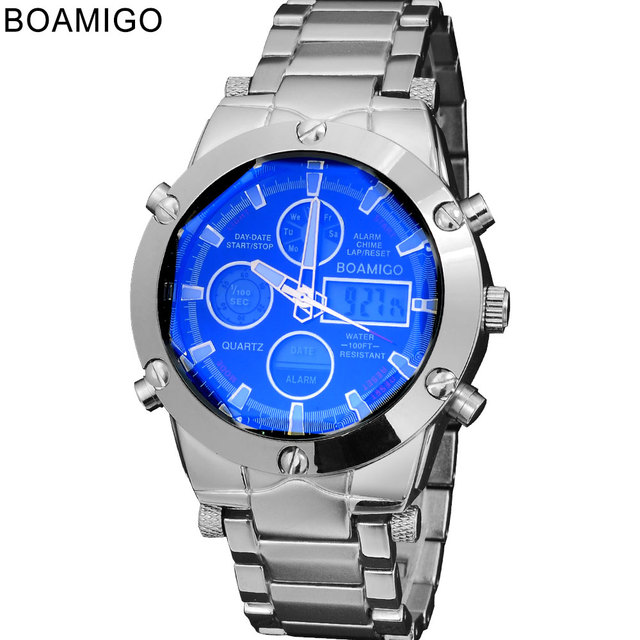 watches men luxury brand BOAMIGO sports military watches Dual Time Quartz Analog Digital Clock  LED steel strap wristwatches