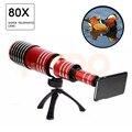2017 nueva 80x metal teleobjetivo lentes lente de zoom para iphone 5 5s 6 6 s 7 además telescopio lentes de cámara del teléfono móvil para samsung casos