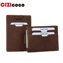 New Brand RFID Blocking Slim Wallet Fashion Men Business Card Credit ID Holder Leather For Vintage Purses