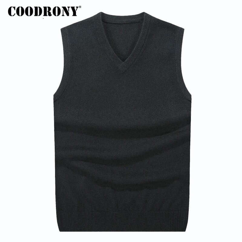 COODRONY Autumn Winter Cashmere Classic Vest Sweater Men Sleeveless Sweaters Solid Color V-Neck Wool Pullovers Men Jersey Hombre