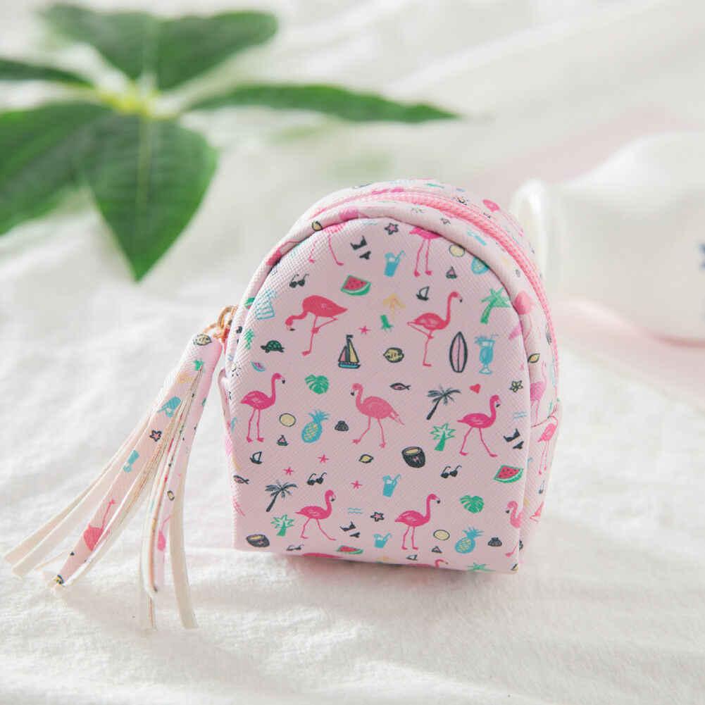 المرأة حقيبة ظهر صغيرة فلامنغو عملة حقيبة محفظة اليد الحقيبة محفظة مفتاح سلسلة كيرينغ