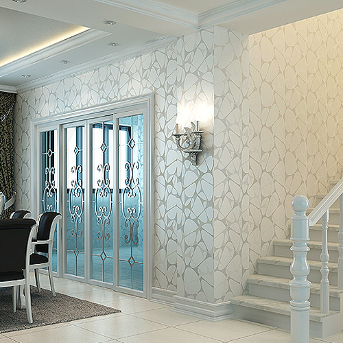 Non Woven Wallpaper Brief Silver Pearl Flock Printing Bird Nest Modern Living  Room Tv Wall