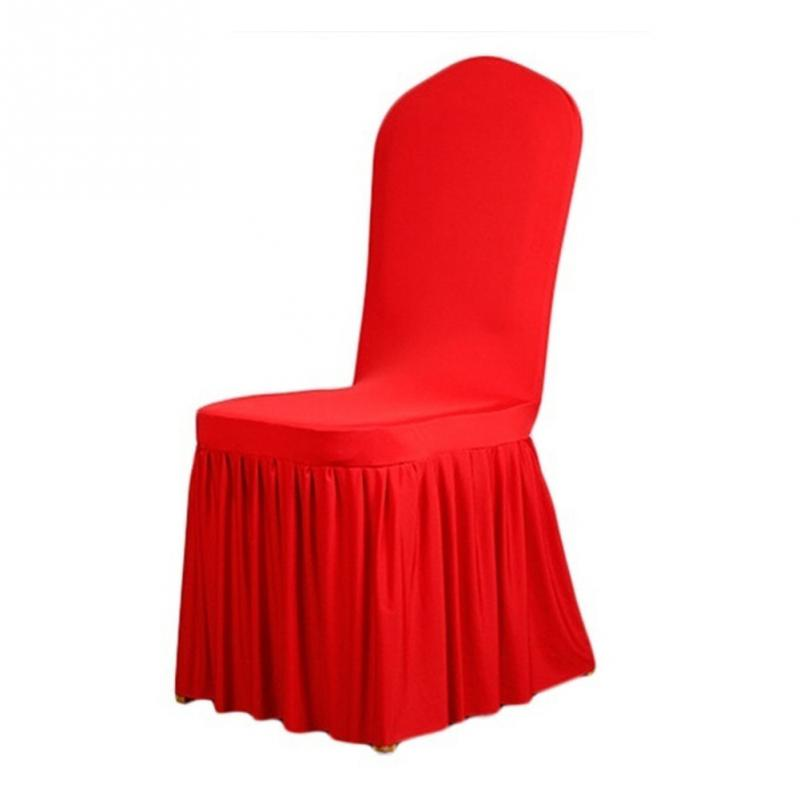 Elegant Pleated Pattern Pure Color Wedding Party Banquet Plain Chair Seat Coverings Dining Room Spandex Elastic