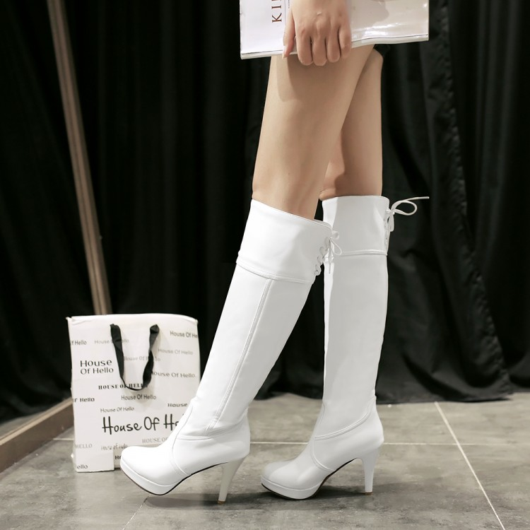 2015 Big size Women Knee High Boots Sexy Chunky High Heels Round Toe Spring Autumn Shoes Round Toe Less Platform Boots 19-16 nemaone women knee boots 2017 sexy vintage chunky high heels spring autumn shoes round toe less platform motorcycle boots