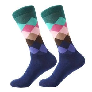 Image 5 - MYORED mens colorful casual dress socks combed cotton striped plaid geometric lattice pattern fashion design high quality