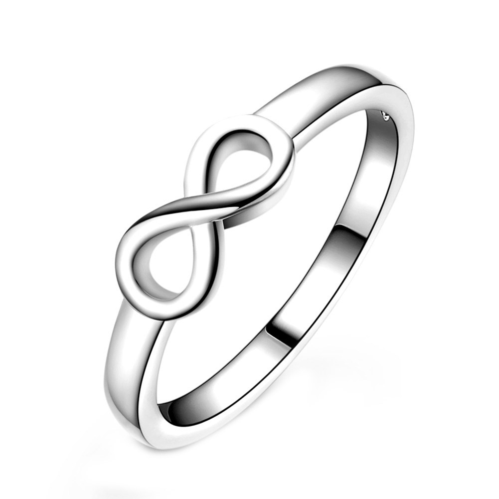 Unisex Simple Stylish New Luxury Metal Simple 8 Word Shape Rings Women Silver Plated Fashion Accessories Mens Rings