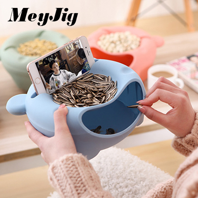 MeyJig Double Layer Dry Fruit Containers Garbage Holder Plate Dish Organizer Multifunctional Plastic Snacks Seeds Storage Box.