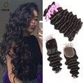 Бразильский плетение волос кружева фронтальная закрытие с пучками Естественный цвет воды волны brazillian weave волос девственницы с кружевом закрытие