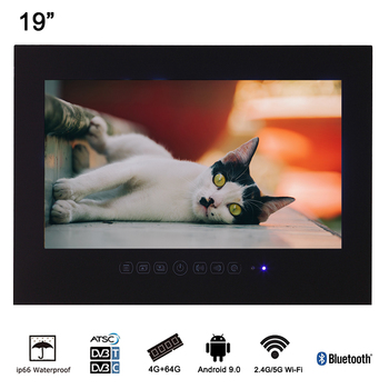"""Souria 19"""" Black Bathroom Waterproof LED Shower TV with Bluetooth Smart Television Luxury Hotel Display"""