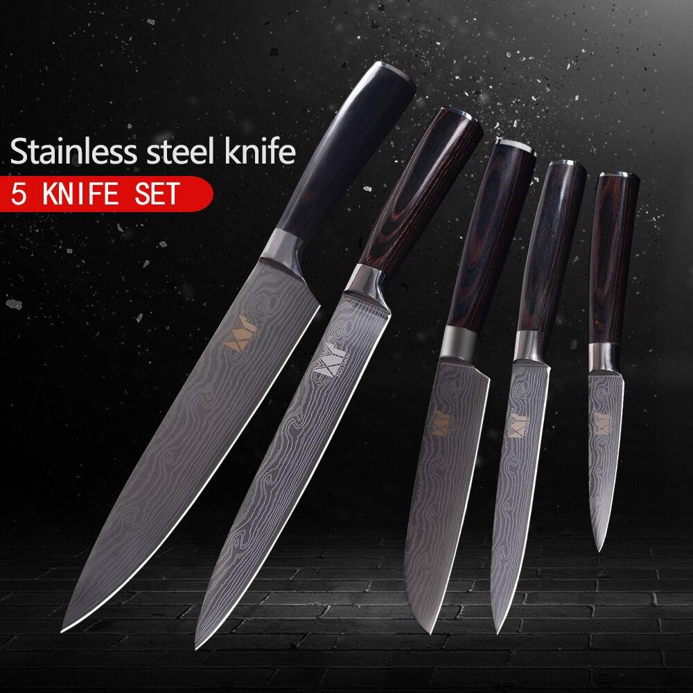 XYj 5 sztuka noże kuchenne zestaw czarny kolor drewna uchwyt narzędzia kuchenne Anti rust 7Cr17Mov noże ze stali nierdzewnej gorąca sprzedaż noże w Zestawy noży od Dom i ogród na  Grupa 1