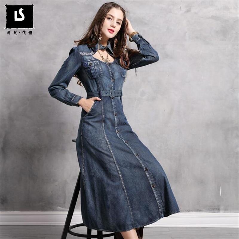 Dress Female 2019 Spring Autumn Denim Women Long Dresses Turn down Collar Vintage Embroidery Belted Slim