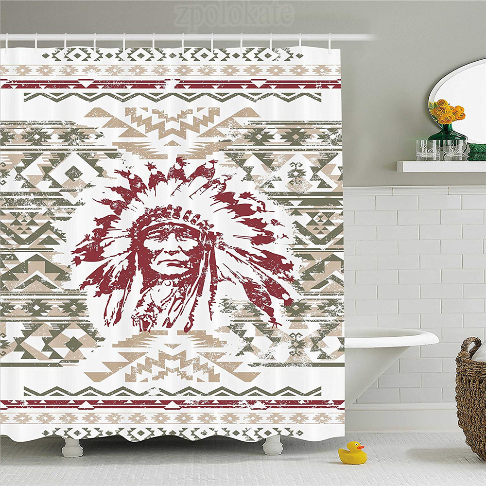 Native American Shower Curtain Retrp Eagle Heart Chief Trail Grunge Effect Ethnic Geometric Motif Fabric Bathroom Decor Set Wi In Curtains From Home