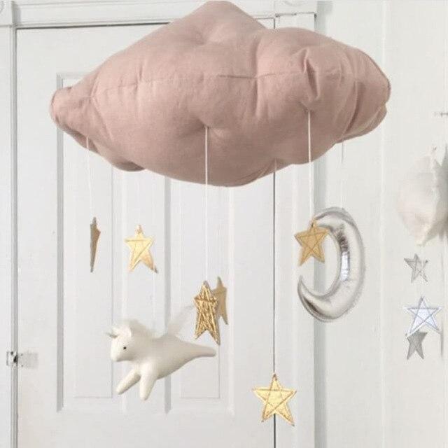 Mooie Baby Slaapkamer.Us 9 68 Mooie Baby Katoen Cloud Star Moon Tent Muur Opknoping Nordic Stijl Foto Props Speelgoed Kids Slaapkamer Decoratie Sticker In Mooie Baby