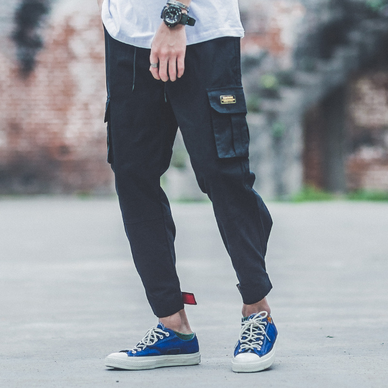 Japanese Style Fashion Men Pantalon Elastic Waist Big Pocket Cargo Pants Harem Trousers Streetwear Hip Hop Joggers Pants Hombre
