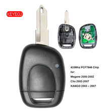 Keyecu Remote Key Keyless 433Mhz PCF7946 Chip Fob 1 Button for Renault Twingo Clio Master KANGO