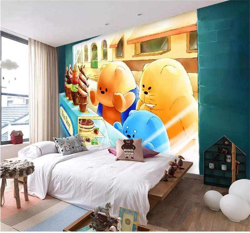 US $14 98 OFF 3d Foto Wallpaper Kustom Mural Ruang Beruang Kota Es Krim Lukisan Anak Gambar Ruang 3d Dinding Mural Wallpaper Untuk Dinding