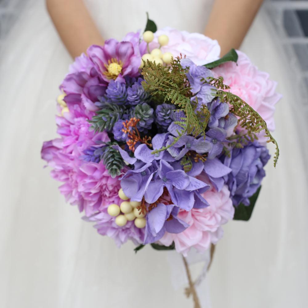 1b66b764d90 US $29.99 25% OFF H&S BRIDAL Light Purple Wedding Flowers 2019 Romantic  Wedding Bouquets Bridal Holding Flower 2019 Artificial Rose ramo de  novia-in ...