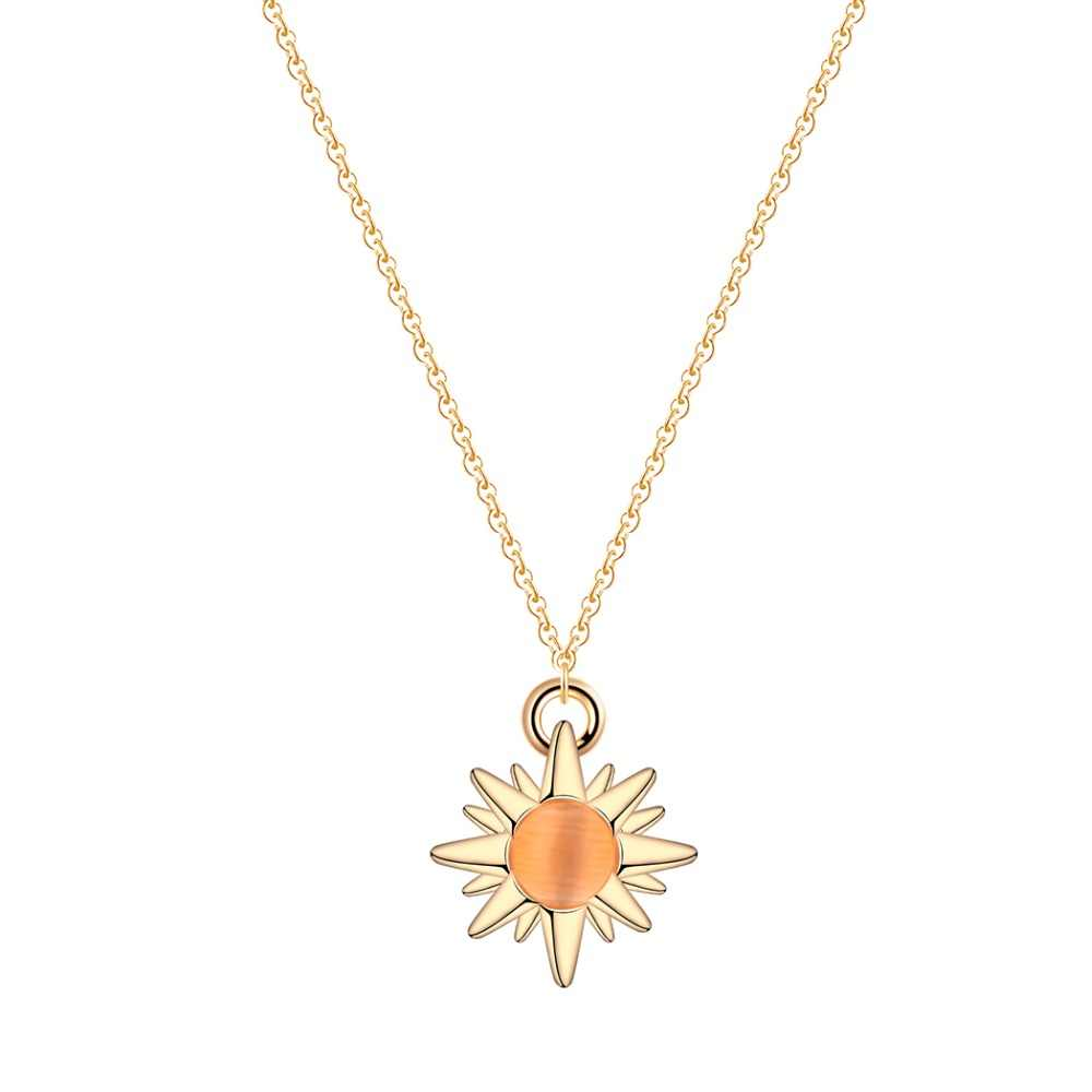 Cxwind Fashion Crystal Stone Lucky Sun Flower Gold Color Pendant Necklace for Women Statement Necklaces Vintage Jewelry Gift