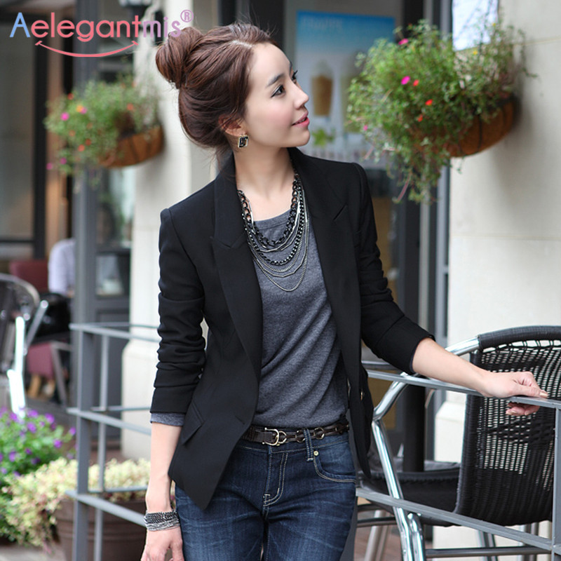 Aelegantmis Spring Autumn Slim Blazers Women Single Button Notched Blazers Black Plus Size Office Lady Work Suit Jacket