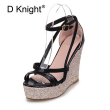 Shoes Women 2018 Summer New Bling Buckle Open Toe Wedge Sandals Black Yellow Ladies High-heeled Shoes Platform Sandals Plus Size maxmuxun women shoes comfort slip on classic high platform wedge sandals 2018 summer ladies open toe buckle strap thick shoes