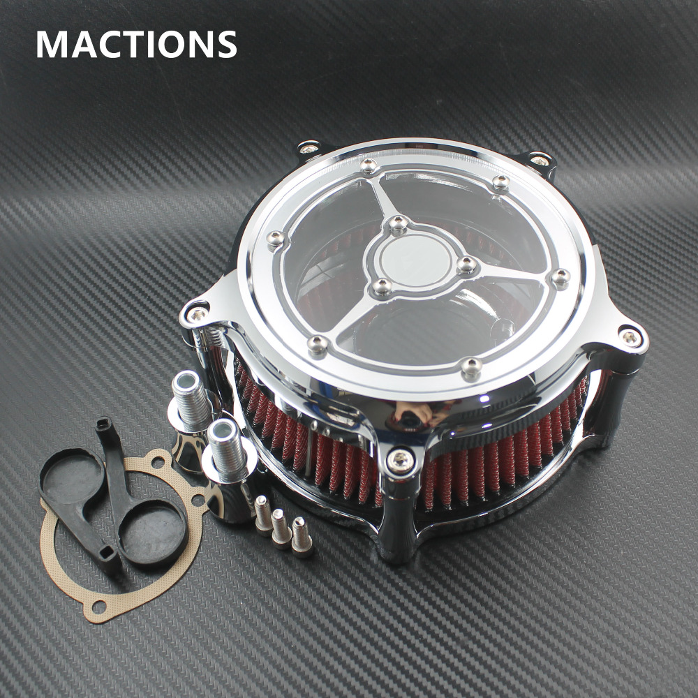 Air Cleaners For Motorcycles : Chrome motorcycle cnc crafts air cleaner intake filter fit