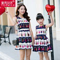 New 2016 Family Matching Clothing Dresses For Girls And Mom Family Matching Mother Daughter Clothes European Girl cartoon Dress