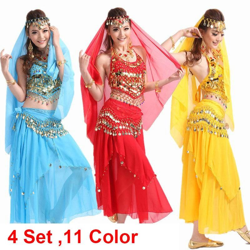 Vēderdejas kostīms Bolivudas kostīms Indijas kleitas bellydance kleita Sieviešu vēderdejas kostīmu komplekti cilts svārkiem 4gab / 1set