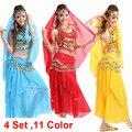 Vestido de la danza del vientre Indio vientre Traje de la Danza Bollywood Vestuario Para Mujer Conjuntos Traje de la Danza Del Vientre Tribal Falda 4 unids/1 Unidades