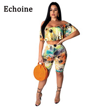 Echoine Floral Print Butterfly Women Suits Off Shoulder Two Piece Set Crop Tops +Mid Pants Summer Beach Clothing Outfits