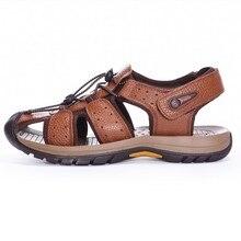 Мужские Сандалии Из Натуральной Кожи сандалии Мужские тапочки Квартиры Коровьей Тапочки Открытый летний мужчины обувь повседневная sandalias hombre