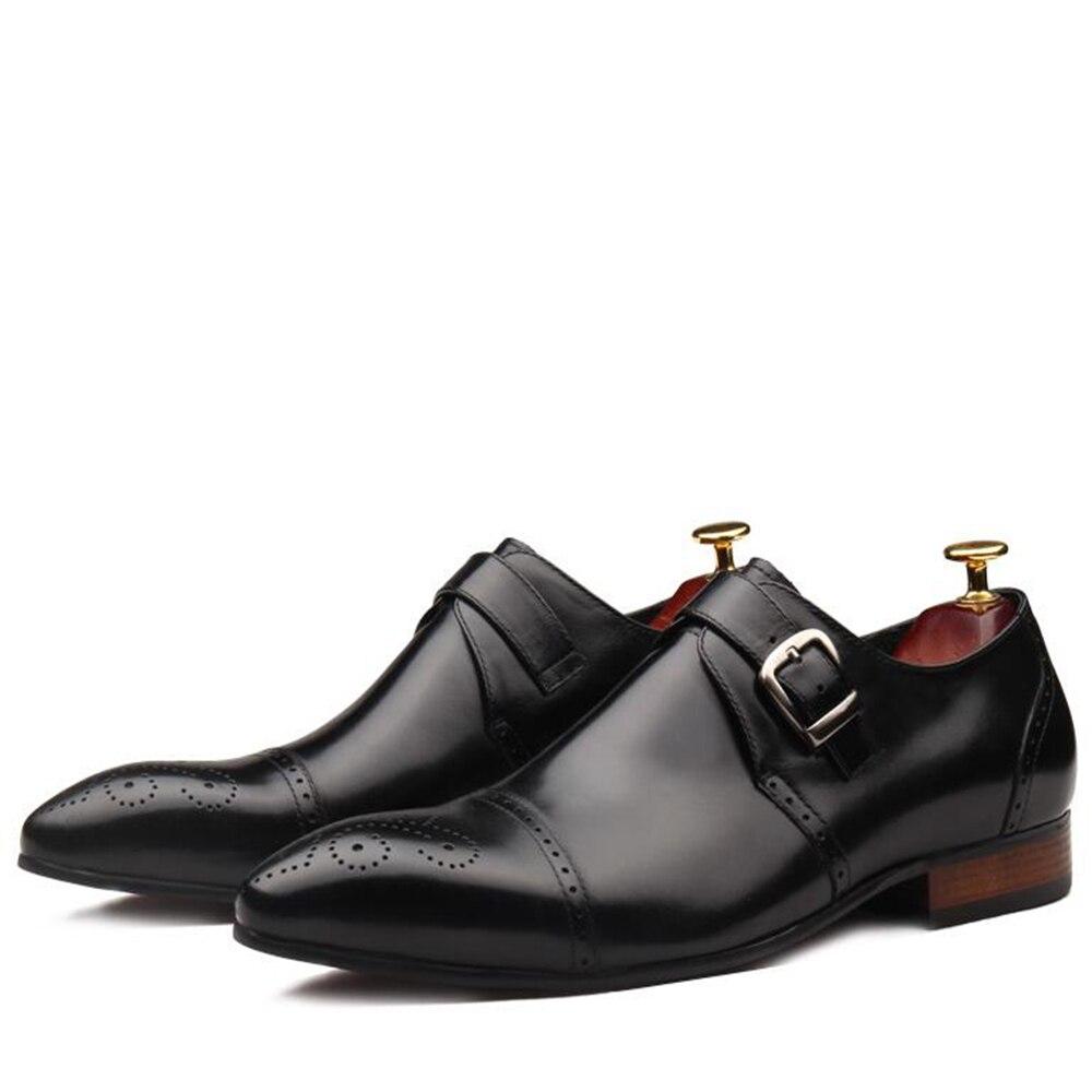 Sapatos Oxfords Italiano Esculpida Toe Sipriks marrom Preto Brogue Tira Vestido Único Cap Igreja Grife Clássicos Mens Monge De Artesanato IOSzq4O